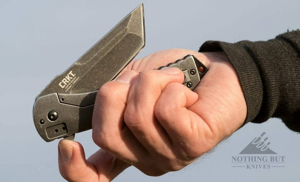 The blade of the Ruger CRKT 2-Stage Compact deploys easily.