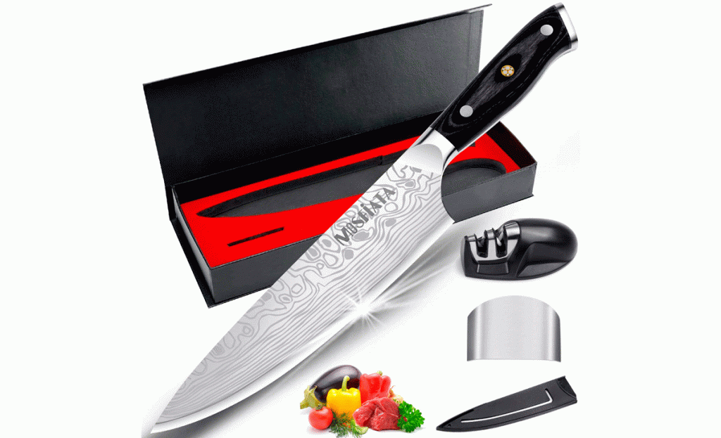 The Mosfiata Chef knife ships in a great looking box with practical accessories.