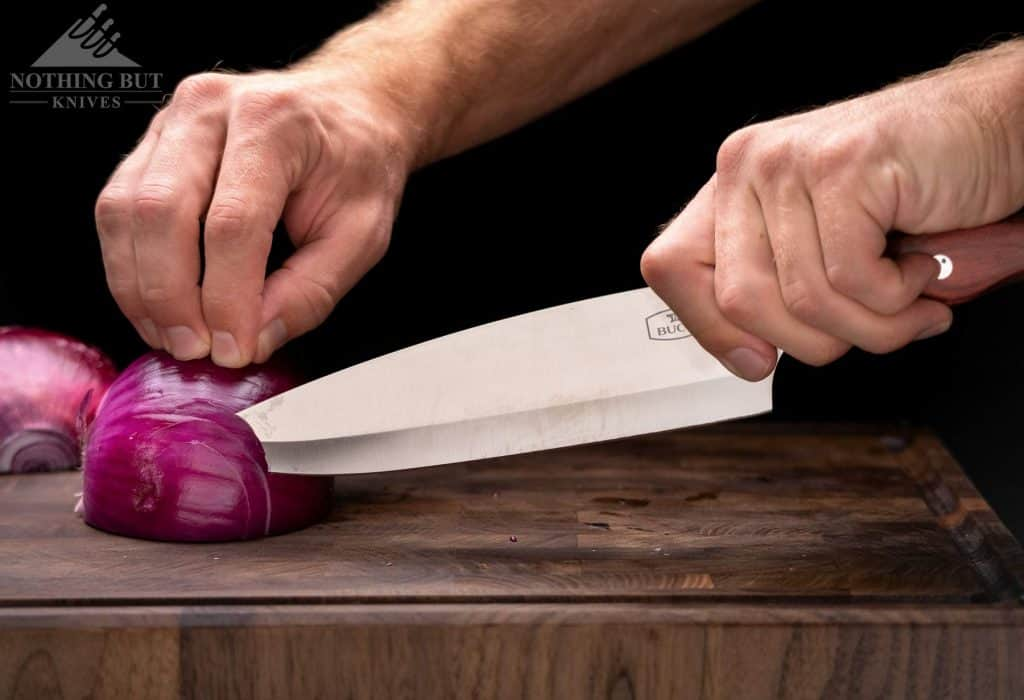 Cutting with the tip of the Buck Chef knife