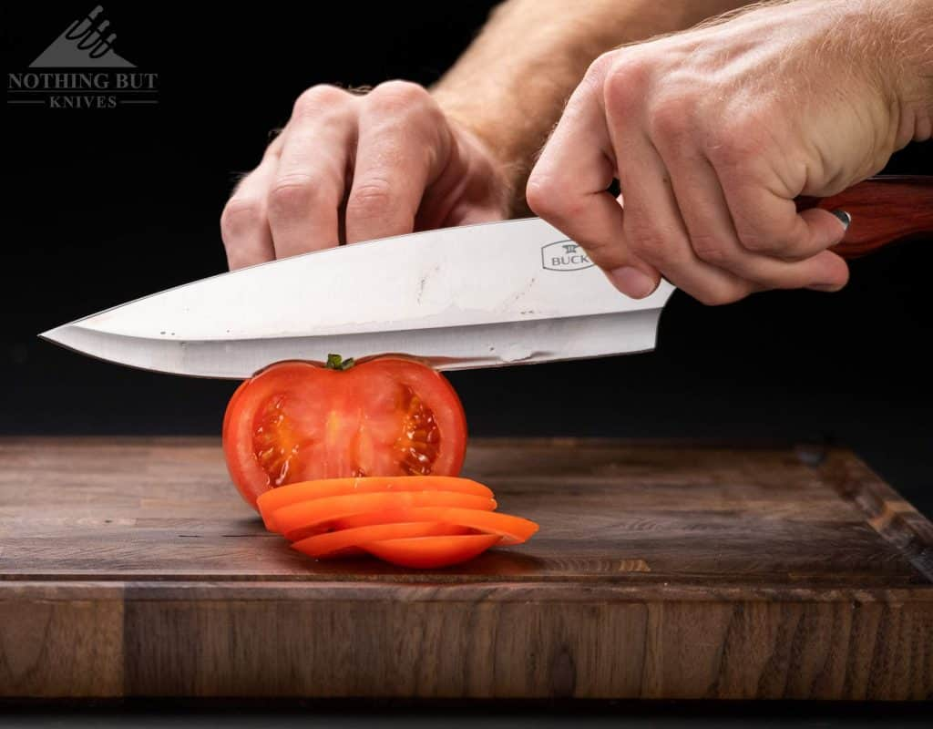 Slicing a tomato with the Buck Chef knife.